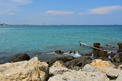 Water break. A water break with the idyllic scene of the Black Sea behind it Royalty Free Stock Photo