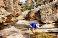 Water break next to river Stock Image