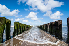 Water breakers on the Dutch Coast Stock Images