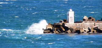 Water Breaking Against Jetty in Hermanus. South Africa Stock Image