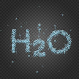 Water bubble background h2o. Bubbles on grey transparent background. Vector banner or flyer with chemical molecule h2o. Text made with cool bubbles. Shiny Royalty Free Stock Photography