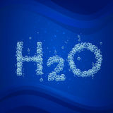 Water bubble background h2o. Water bubble background. Vector blue banner or flyer with water molecule h2o. Text made with cool bubbles. Shiny realistic foam and Stock Photo