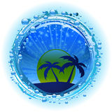 Water bubble border with evening sky and palm trees Royalty Free Stock Images