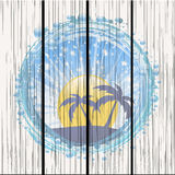 Water bubble border with evening tropical sky on wood panel Stock Photography