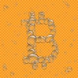 Water bubbles bitcoin transparent. Water bubbles bitcoin crypto money on orange transparent background. Beautiful fresh aqua crypto-currency sign symbol drops Stock Images