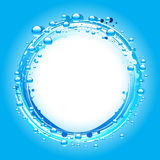 Water bubbles border over blue Royalty Free Stock Photography
