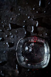 Water bubbles in glass. On black background. Top view Royalty Free Stock Photo