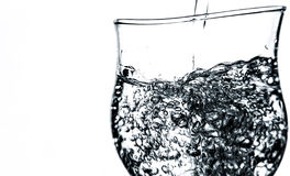 Water bubbles in a glass isolated. Glass full of water bubbles isolated Royalty Free Stock Images