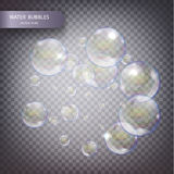 Water bubbles isolated. On a transparent checkered background. Fizzy trace falling down in water on transparent background Stock Photos
