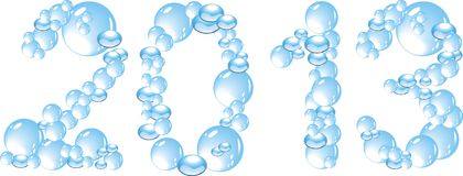 Water bubbles letters 2013 Stock Photos