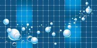 Water bubbles on the mosaic background stock images