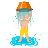 Water bucket challenge.The boy pours water. A healthy lifestyle Stock Photography