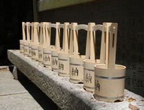 Water Buckets Outside Shrine Stock Images