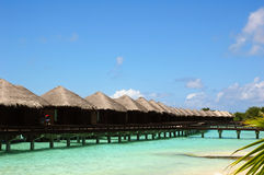 Water Bungalow on  maldivian island Royalty Free Stock Photo