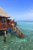 Water bungalow on tropical island Stock Photography
