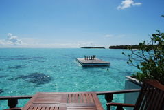 Water bungalows. In Maldives at sunny day Stock Image