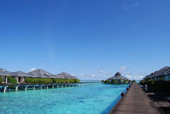Water bungalows. In Maldives at sunny day Royalty Free Stock Photo