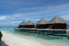 Water bungalows. At an island resort in the Maldives stock images