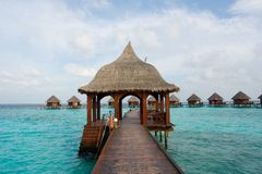 Water bungalows. In a lagoon at a resort in the Maldives royalty free stock photos