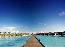 Water bungalows. Waterbungalow in the indian ocean Royalty Free Stock Photo