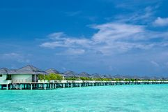 Water Bungalows. On an maldivian island in the indian ocean Stock Photography