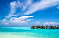 Water Bungalows. On an maldivian island in the indian ocean Royalty Free Stock Photos