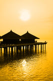 Water Bungalows And Sunset Royalty Free Stock Photography