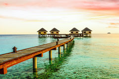 Water bungalows and the beach in Maldives Stock Photography