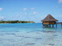 Water bungalows and blue sky and blue ocean Royalty Free Stock Image