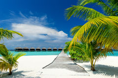 Water bungalows. Jetty to water bungalows on the maldives royalty free stock photos