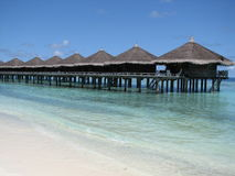 Water bungalows - the Maldives. Water bungalows - stilt houses - in the Maldives Royalty Free Stock Photography