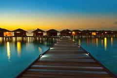 Water bungalows on Maldives island Stock Photos