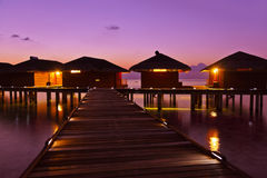 Water bungalows on Maldives island Royalty Free Stock Image