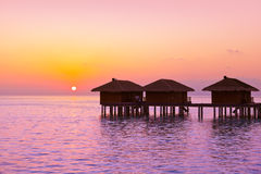 Water bungalows on Maldives island Royalty Free Stock Photography