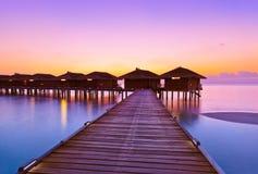 Water bungalows on Maldives island Stock Photo