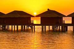 Water bungalows on Maldives island Royalty Free Stock Images