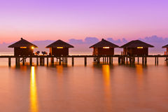 Water bungalows on Maldives island Stock Images