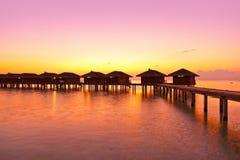 Water bungalows on Maldives island Royalty Free Stock Image