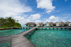 Water bungalows in maldives resort Stock Images