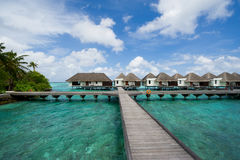 Water bungalows in maldives resort Royalty Free Stock Photography