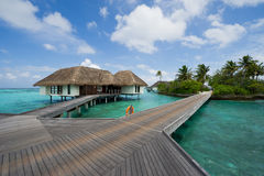 Water bungalows in maldives resort Stock Photo