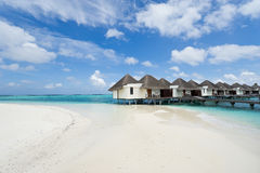 Water bungalows in maldives resort Royalty Free Stock Images