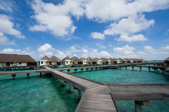 Water bungalows in maldives resort Stock Photography