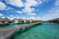 Water bungalows in maldives resort Royalty Free Stock Photo