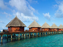 Water bungalows over blue ocean Royalty Free Stock Photo