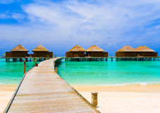 Water bungalows and pathway Stock Photos