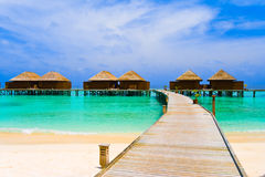 Water bungalows and pathway Stock Photo
