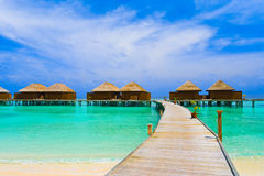 Water bungalows and pathway Stock Image