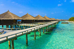 Water bungalows on a tropical island Stock Photos