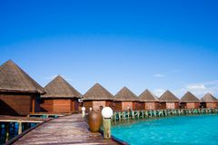 Water bungalows on the tropical island Stock Photography